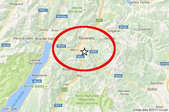 Terremoti: scossa nel basso Trentino