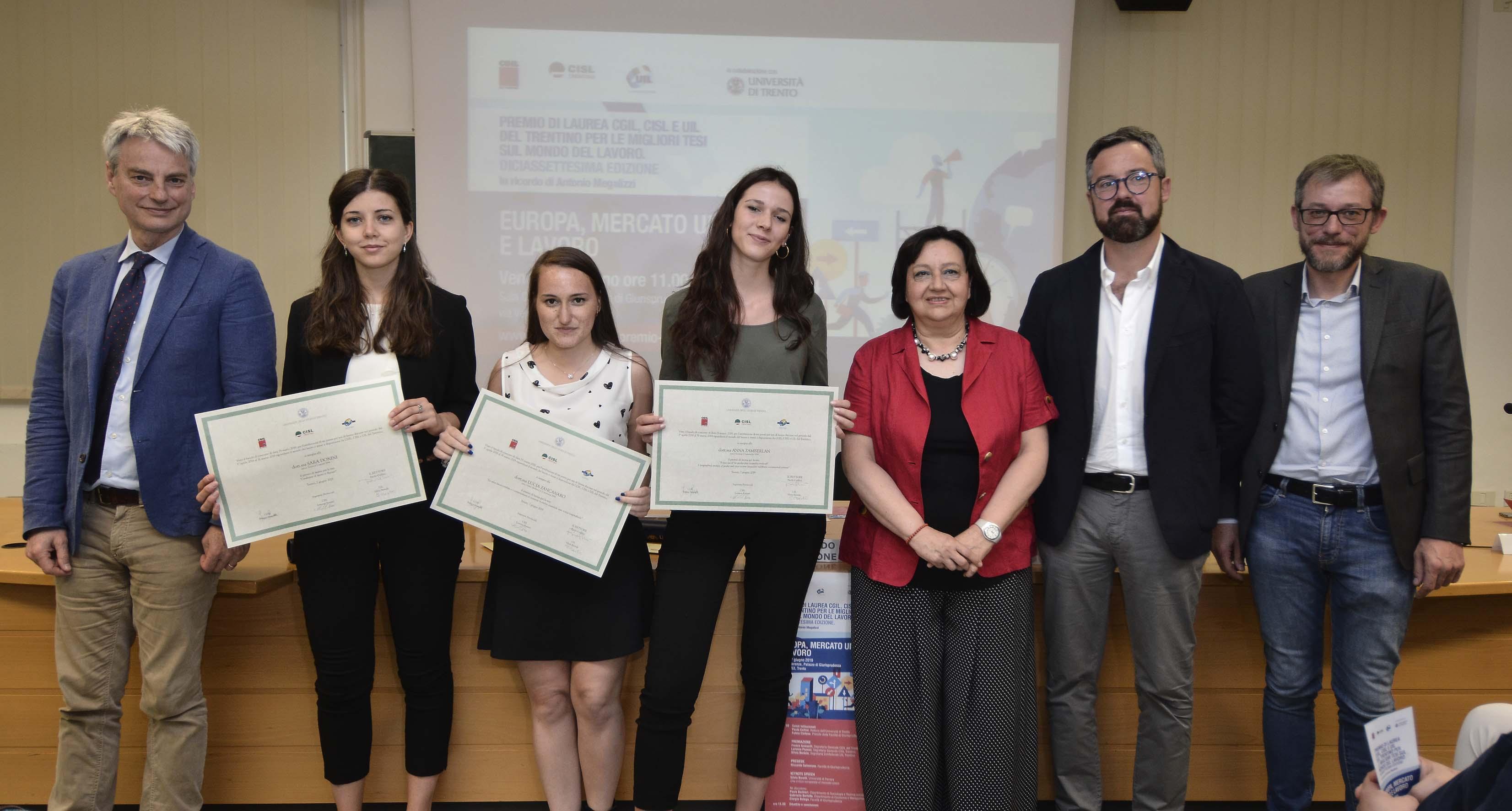 Premio Cgil Cisl E Uil Del Trentino A Tre Tesi Di Laurea Sul Lavoro La Voce Del Trentino