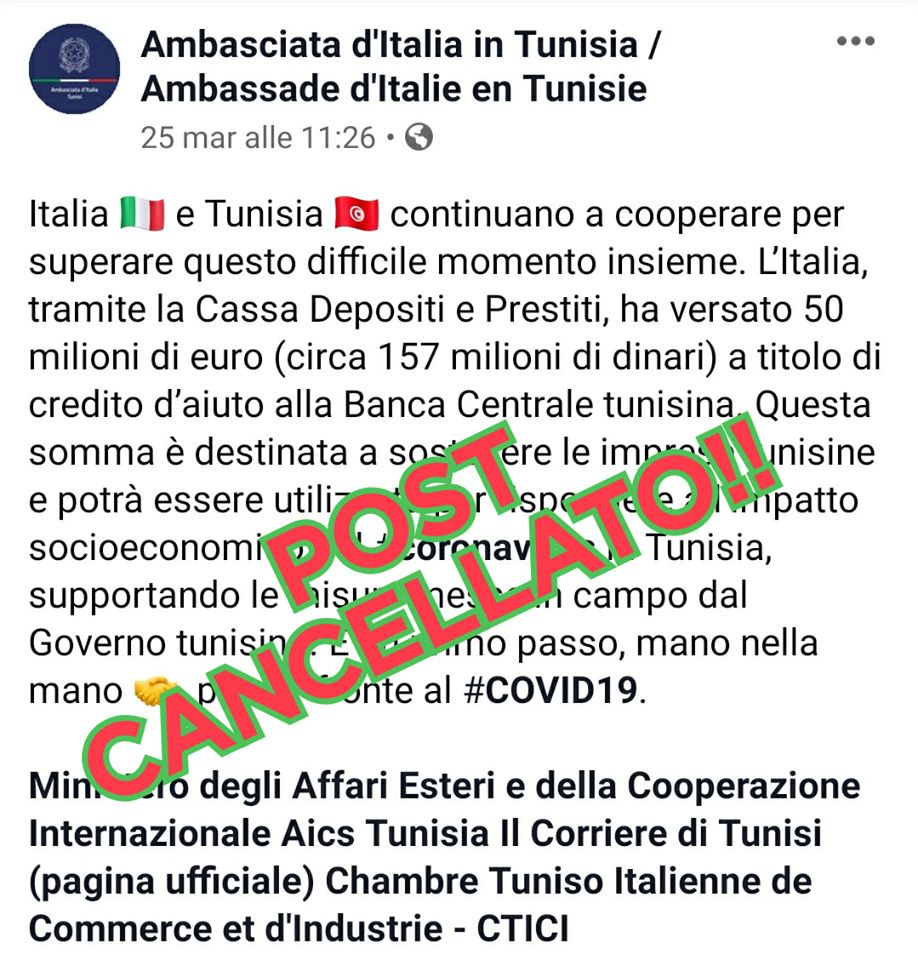 Coronavirus, l'Italia versa 50 milioni di euro per le imprese tunisine